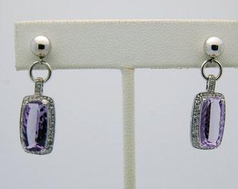 White Gold Amethyst Diamond Drop Earrings -14K February Birthdays, rectangle cut, diamond halo, purple gemstone