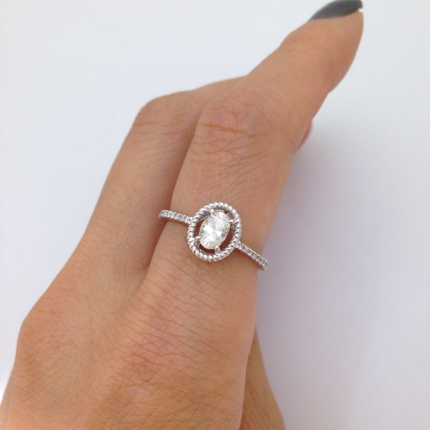 3f031a812b835 0.50 Carat Oval Diamond Engagement Ring VS2 H - Simple Rope ...