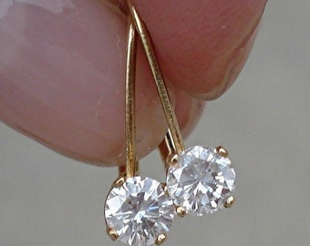 1/2 Carat Diamond Earrings - Solitaire Leverback Drop 14K (Yellow Gold, White Gold and Rose Gold) by Luxinelle