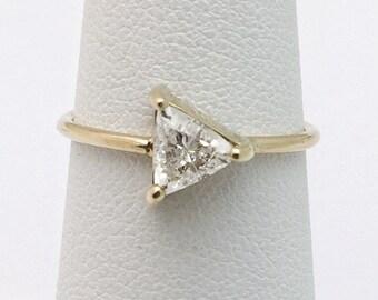 Half Carat Trillion Cut Diamond Ring 14K Yellow Gold Minimalist Arrow Triangle Diamond