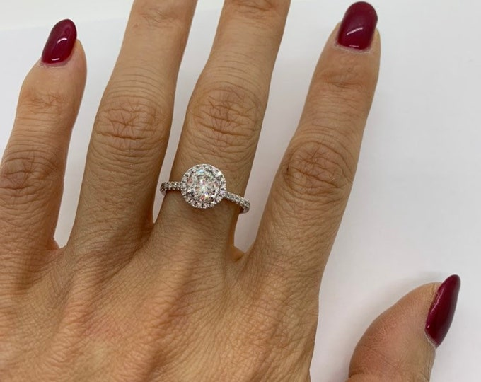 Featured listing image: 1 Carat Diamond Ring - EGL Certified E Color, SI3 Micropave Halo Engagement Ring 1.27 TCW Looks Huge!