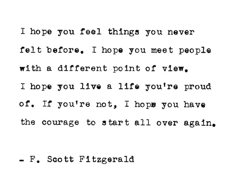 Inspirational Quote F Scott Fitzgerald Personalized Gift Etsy