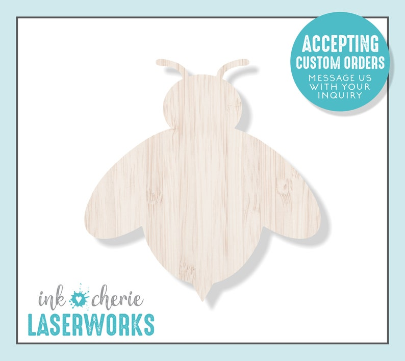 Laser Cut Bumble Bee Shape Laser Cut Wood Shape for Crafting Bee Silhouette Wooden Craft Supplies Wood Bee Cutout Wood Crafting Shapes