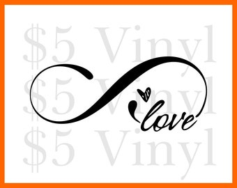 Infinite Love vinyl XS-SMALL car decal, Love Sticker, Heart, Decal, Window Decal