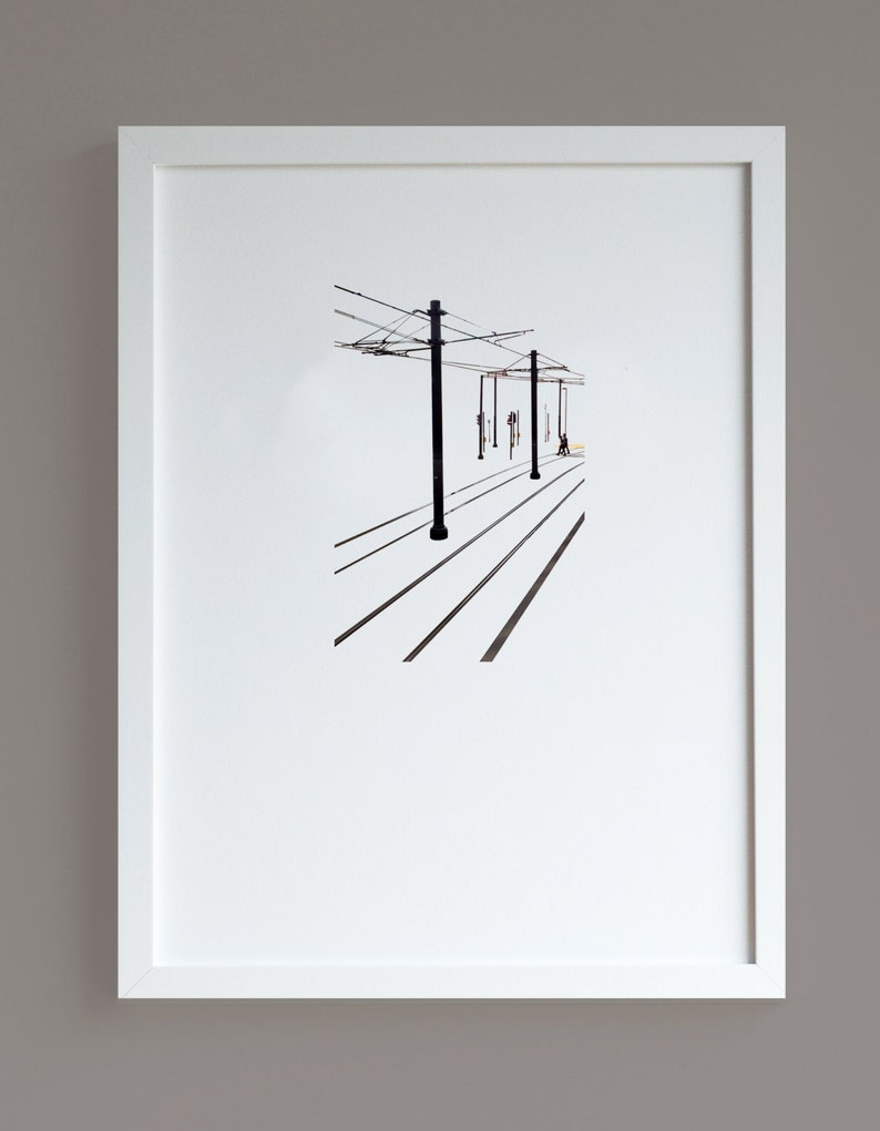 Tram Tracks A3 print minimalist photographic print urban image 0