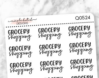 Q0524 || Grocery Shopping Brush Script Planner Stickers - Functional Stickers - Black Text - Matte Removable Labels
