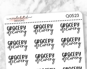 Q0523 || Grocery Delivery Brush Script Planner Stickers - Functional Stickers - Black Text - Matte Removable Labels