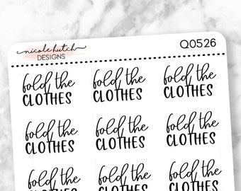 Q0526 || Fold the Clothes Brush Script Planner Stickers - Functional Stickers - Black Text - Matte Removable Labels