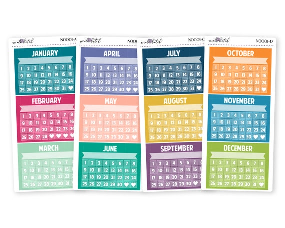 n0001 colorful monthly habit goal trackers for the etsy