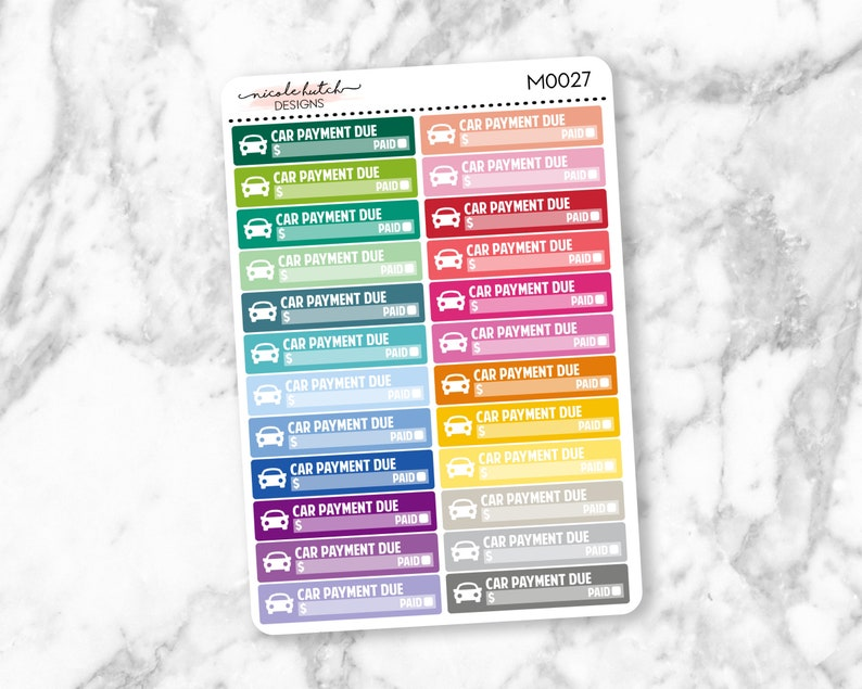 M0027  EC Monthly Car Payment Due Skinny Label Planner image 0