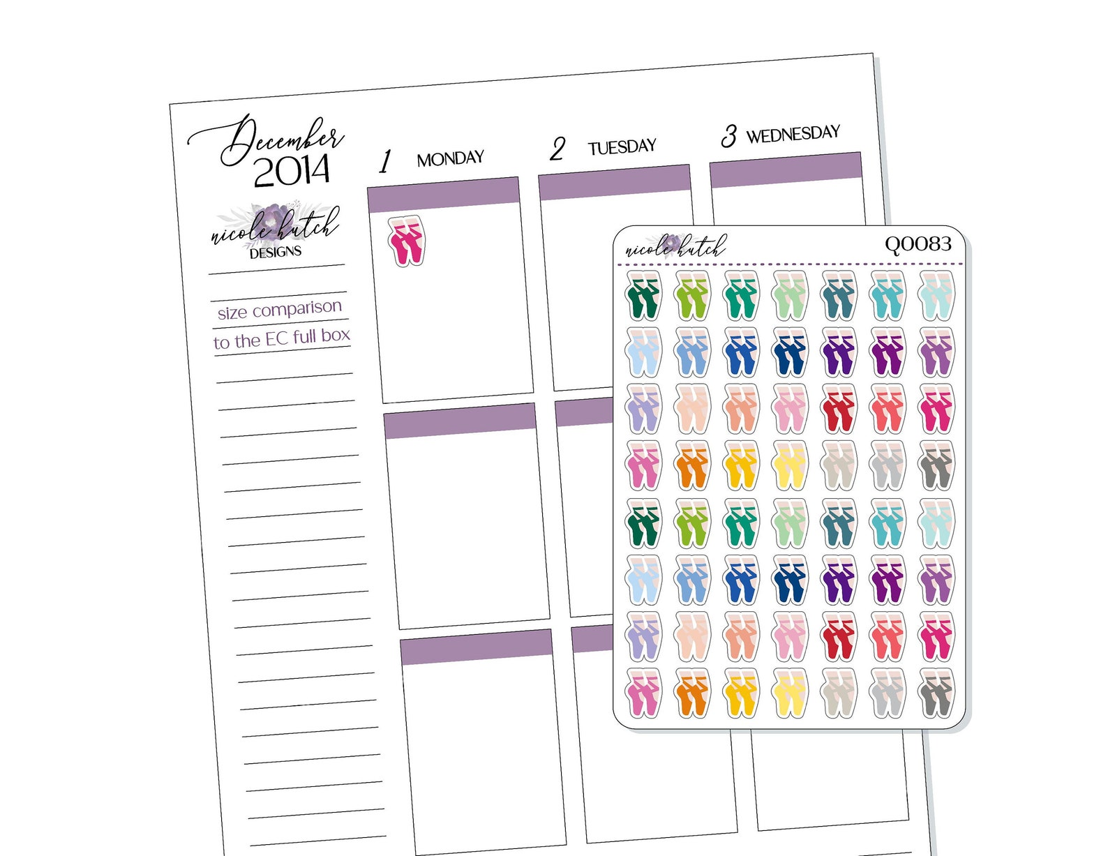 small ballet dancing icon planner stickers - activity - dance - functional stickers - multi color - matte removable [q0083]