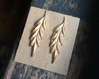 Vintage Marvella Leaf Pierced Earrings - Textured Gold Tone - Signed Marvella - Pierced Post Earrings - Organic - Nature