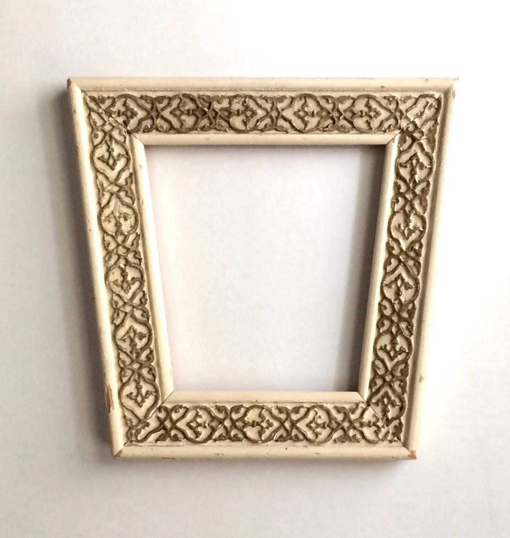 Cosecha mediados de siglo trapezoide pintado marco madera con vidrio ...