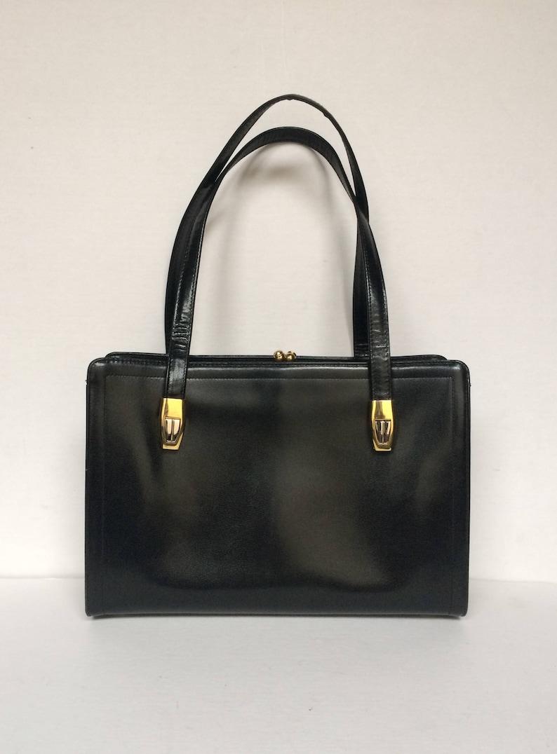 Vintage Koret Black Leather Handbag Purse Satchel Double  fb59dca7cf59a