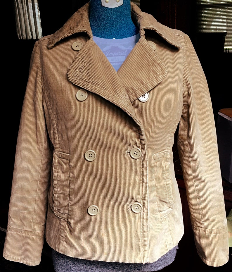 d1334bdb5 Gap Tan Corduroy Double Breasted Pea Coat-Pea Jacket