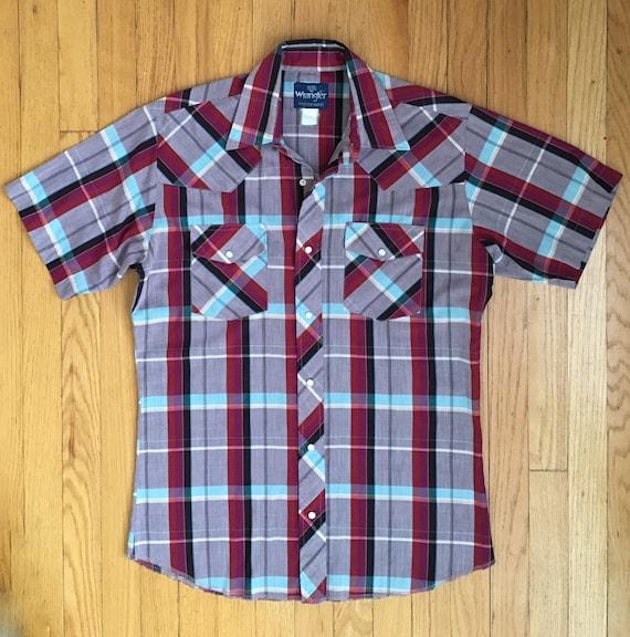 61d0ff52 Vintage Wrangler Men's Plaid Western Shirt Size M 15-15   Etsy