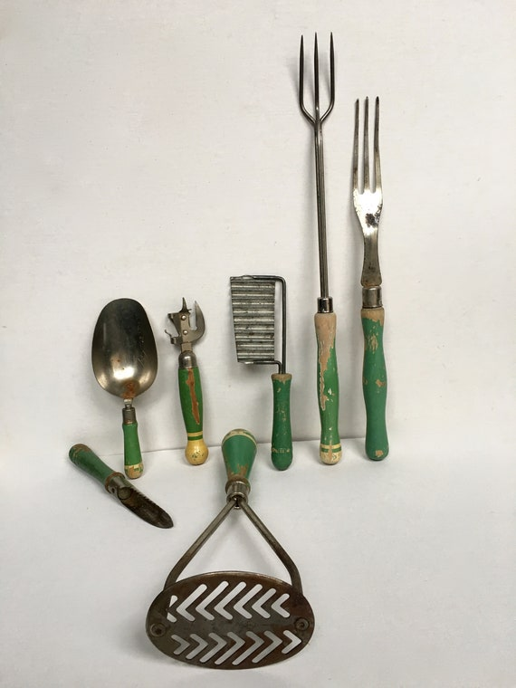 Lot Of 7 Vintage Antique Green Wood Handle Kitchen Utensils-Kitchen Tools-A  & J- USA -Stainless Steel Utensils-Primitive-Kitchen Decor-Props