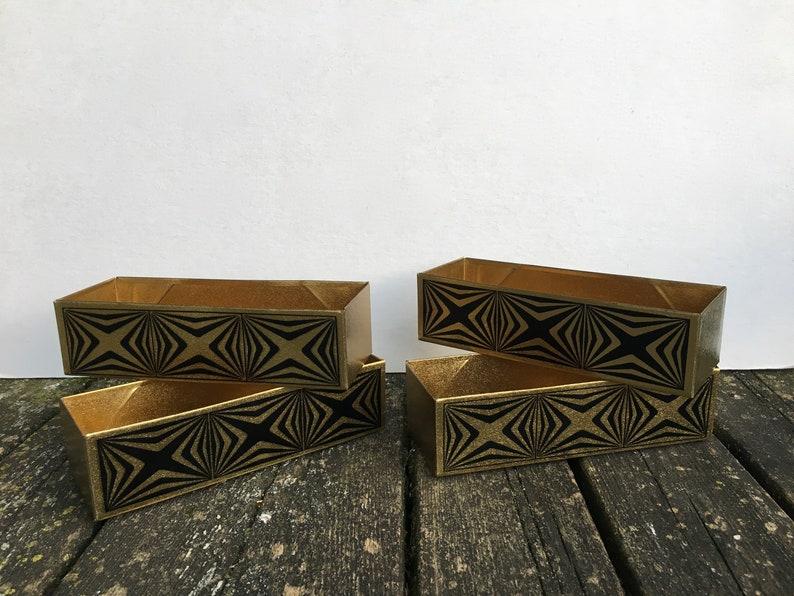 Enjoyable Set Of 4 Mid Century Modern Vintage Metal Storage Bins Metal Storage Boxes Drawer Organizers Dividers Black Gold Geometric Pattern Inzonedesignstudio Interior Chair Design Inzonedesignstudiocom