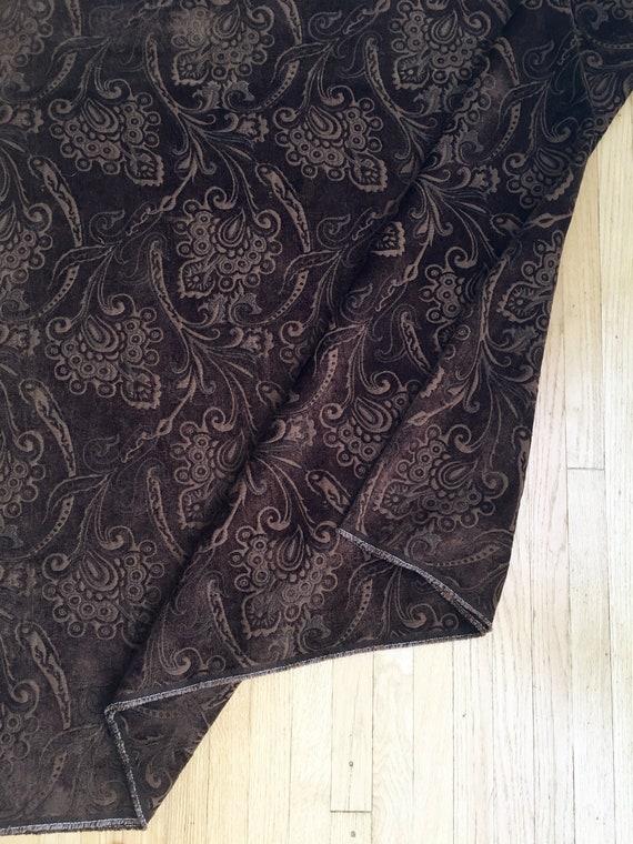 Length Of Brown Flocked Embossed Velvet Upholstery Fabric Etsy