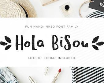 hola bisou, handlettered font, lettering font, ink font, cute font, handmade font, handlettering font, fun font, kid font, craft font, kid,
