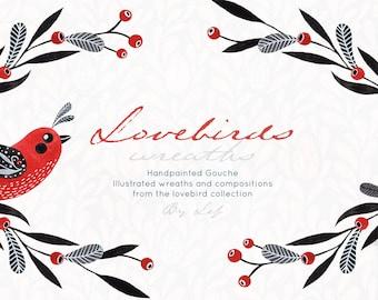 folk clipart, birds clipart, wreath clipart, easter graphics, gouache illustrations, clip art birds, clipart watercolor, watercolor graphics