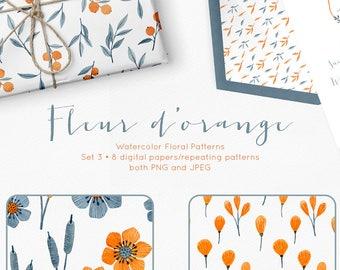 floral digital paper pack, repeating patterns, watercolor digital paper, watercolor flowers digital paper, digital paper flowers
