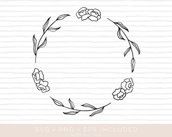 floral wreath leafs svg cutfile • eps and png also included •wreath clipart •silhouette and cricut compatible