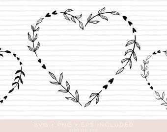 heart floral wreath svg cutfile • eps and png also included •laurel wreath clipart •silhouette and cricut compatible