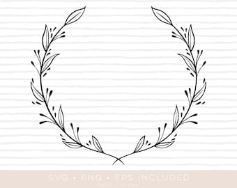 floral wreath svg cutfile • eps and png also included •wreath clipart •silhouette and cricut compatible