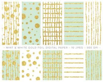 mint gold digital paper, gold foil digital paper, gold foil clipart, mint gold clipart, confetti clipart, gold foil graphics, gold stripes
