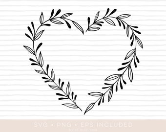 heart floral wreath svg cutfile 2 • eps and png also included •laurel wreath clipart •silhouette and cricut compatible