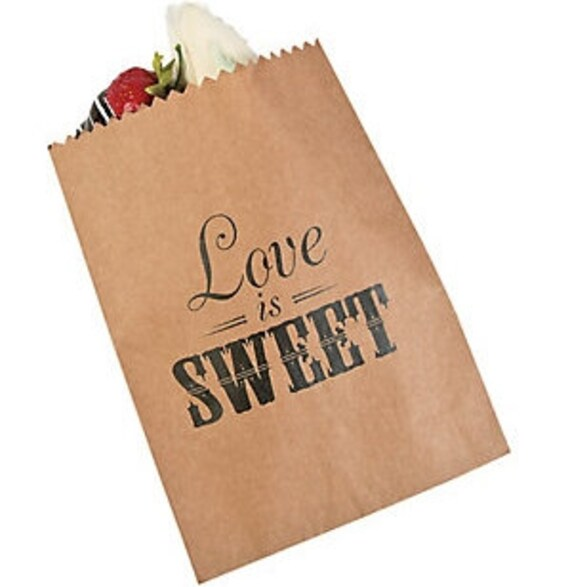 Love is Sweet treat bag paper bag wedding candy bar | Etsy