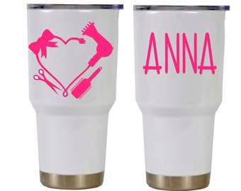 Hair dresser cup decal, Cup decal, Waterproof yeti sticker, RTIC cup decal, Yeti tumbler decal, 20oz and 30oz Tumbler, Monogram Hairdresser