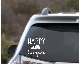 Happy Camper car decal, Camper car decal, vinyl car decal, Car decal, Camping Car decal, Tent Camping decal, waterproof decal,