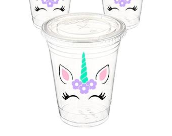 Unicorn Party cups, Unicorn cups, Favor Unicorn cups, Set of 12 Unicorn party cups, Clear Party cups, Theme party cups, Unicorn party