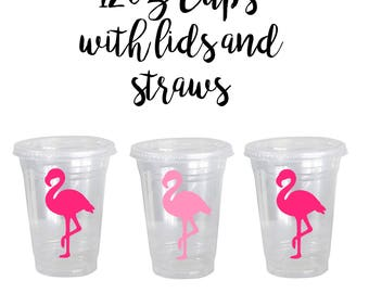 Flamingo Birthday cups, Flamingo 1st Birthday Party Supplies, Ships in 1-3 days, Party cups with lids, Set of 12, Flamingo straws