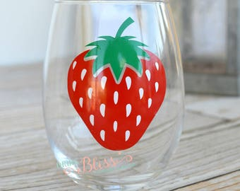 Strawberry Wine glass, Stemless wine glass, Strawberry cup, Summer wine glass, Stemless summer glass, Fruit wine glass
