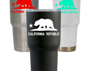 California cup decal, California Republic decal, Yeti Tumbler decal, Vinyl decal, Waterproof vinyl decal sticker, Personalized Yeti cup