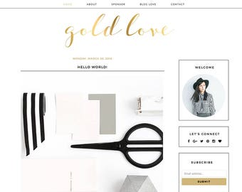 "Blogger Template Mobile Responsive - Instant Digital Download - Premade Complete Blog Design -""Gold Love"""