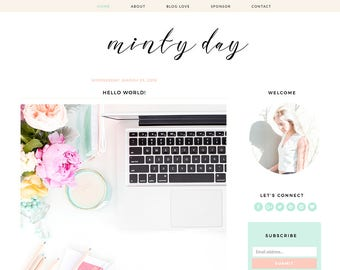 "Blogger Template Mobile Responsive - Instant Digital Download - Premade Complete Blog Design -""Minty Day"""