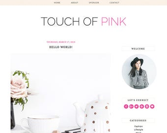 "Blogger Template Mobile Responsive - Instant Digital Download - Complete Blog Design -""Touch of Pink"""
