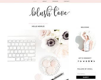 "Blogger Template - Mobile Responsive - Instant Digital Download - Complete Blog Design -""Blush Love"""