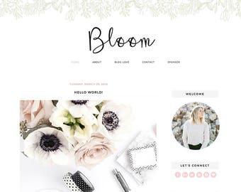 "Blogger Template Mobile Responsive - Instant Digital Download - Premade Complete Blog Design -""Bloom"""