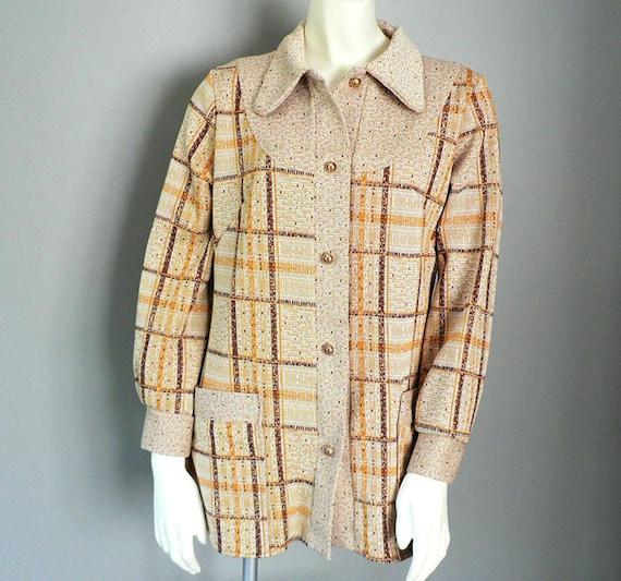 Women 1970s Pant Suit Poly Plaid