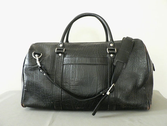 Black Leather Vintage Duffle Bag by APC
