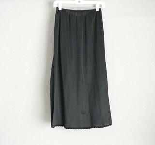 Long Black Midi Half Slip Size Medium