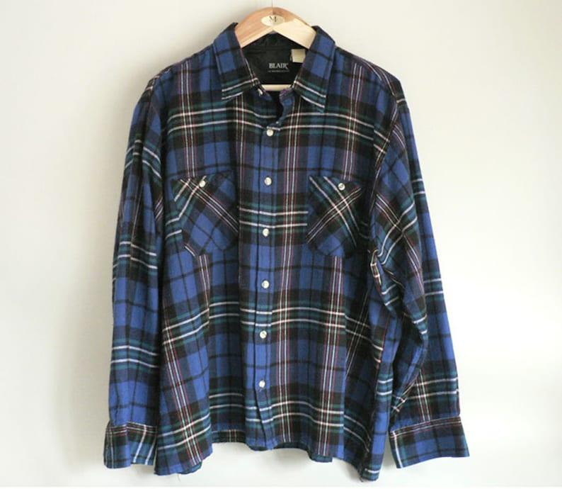 Mens Blue Plaid Shirt Size Extra Extra Large