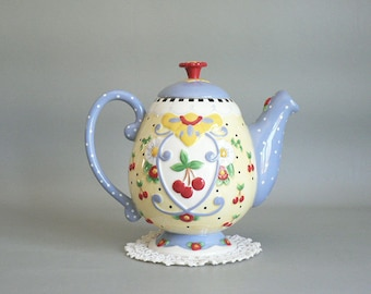 Folk Art Blue Floral Teapot