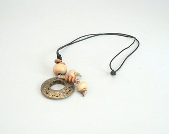 Long Brass Pendant Necklace With Wood Beads