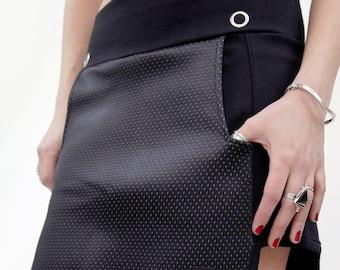 NEOPRENE MINI SKIRT/ Asymmetrical mini skirt/ Mini skirt with pockets and elastic waist/ Black skirt.